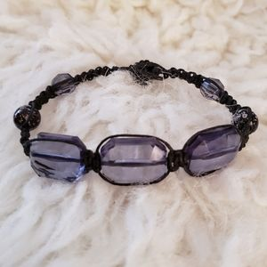 Smokey Purple Faceted Bead Macrame Bracelet